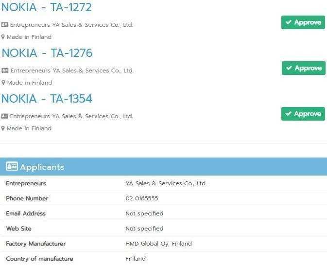 Nokia TA-1354 получает сертификат NBTC в Таиланде