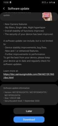 Обновление One UI 2.1 для Samsung Galaxy M21 уже выходит