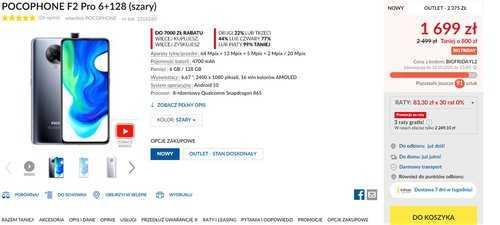 Акционная цена Xiaomi POCO F2 Pro в RTV Euro AGD