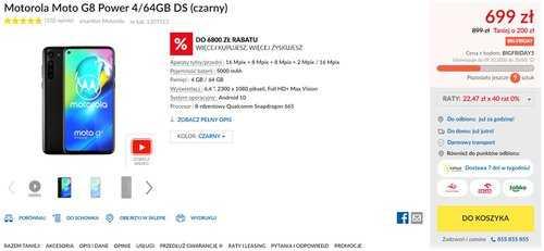 Акционная цена Moto G8 Power в RTV Euro AGD