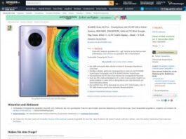 Скриншот страницы Huawei Mate 40 Pro на Amazon DE