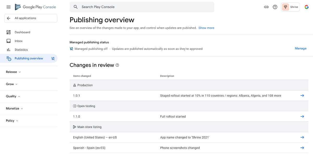 Консоль Google Play добавляет обзор публикации, обновляет временную публикацию