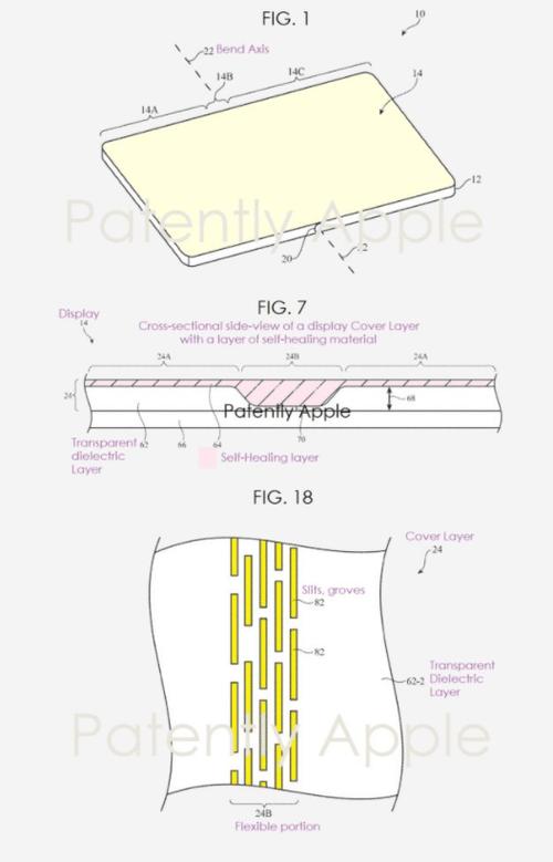 iPhone с откидным экраном может сам регенерировать царапины / фото Запатентовано Apple