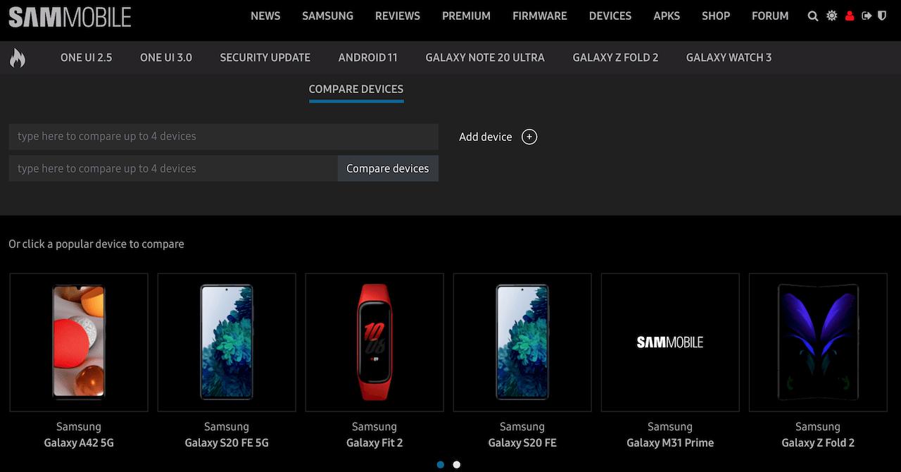 Сравнение телефонов Samsung: используйте наш простой инструмент для сравнения всех устройств