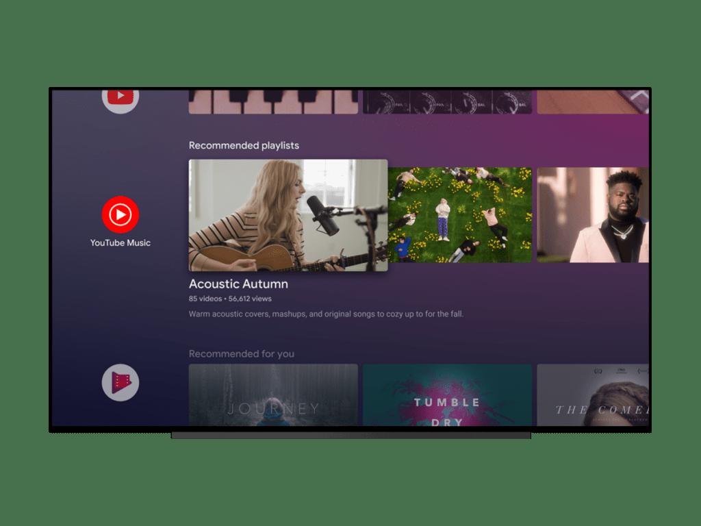 Рекомендуемые плейлисты YouTube Music для Android TV