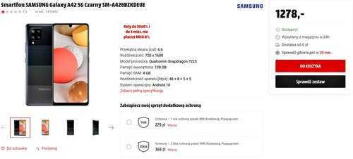 Акционная цена Samsung Galaxy A42 5G на MediaMarkt