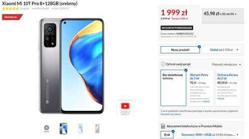 Акционная цена Xiaomi Mi 10T Pro на RTV Euro AGD