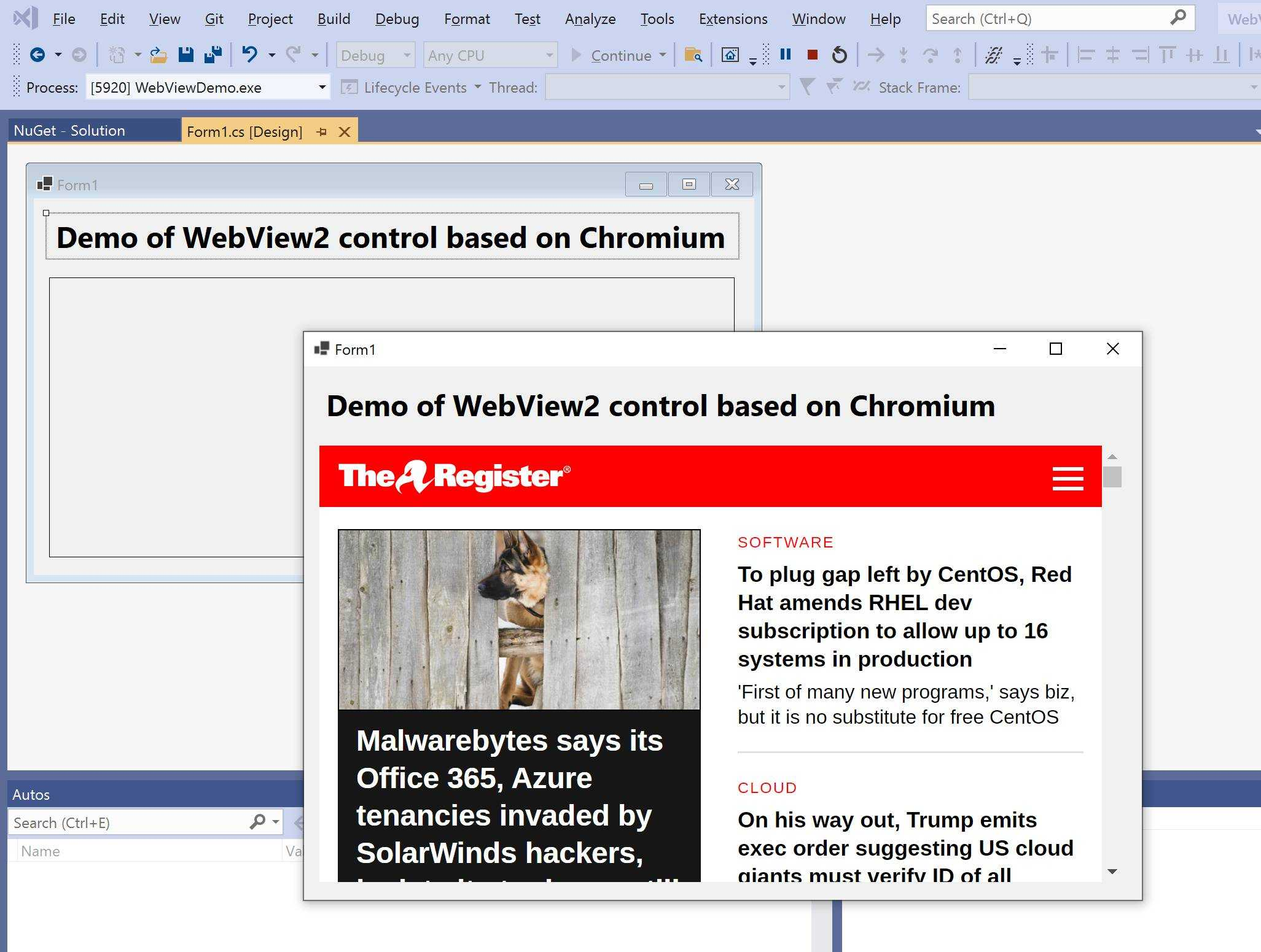 Chromium-based WebView2 has improved debugging support in the latest Visual Studio preview.