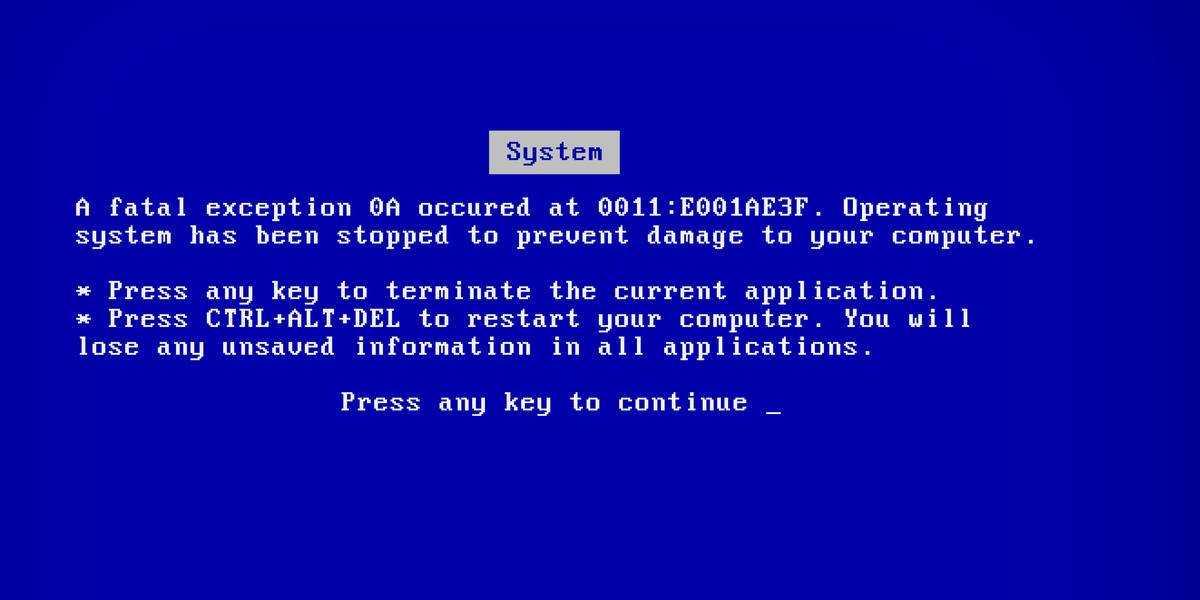 Кто поместил Синий в синий экран смерти? • Реестр