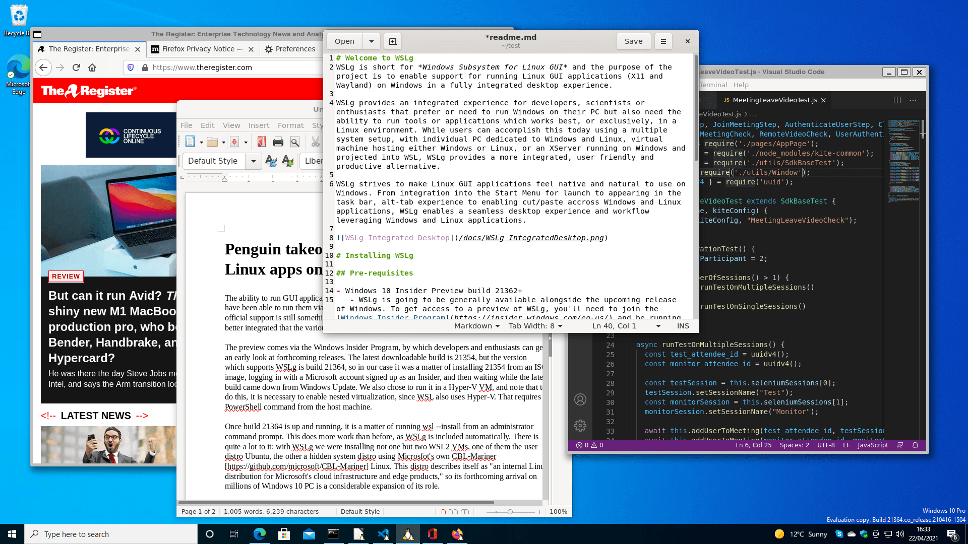 Linux applications running on Windows: Firefox, LibreOffice, Gedit and VS Code