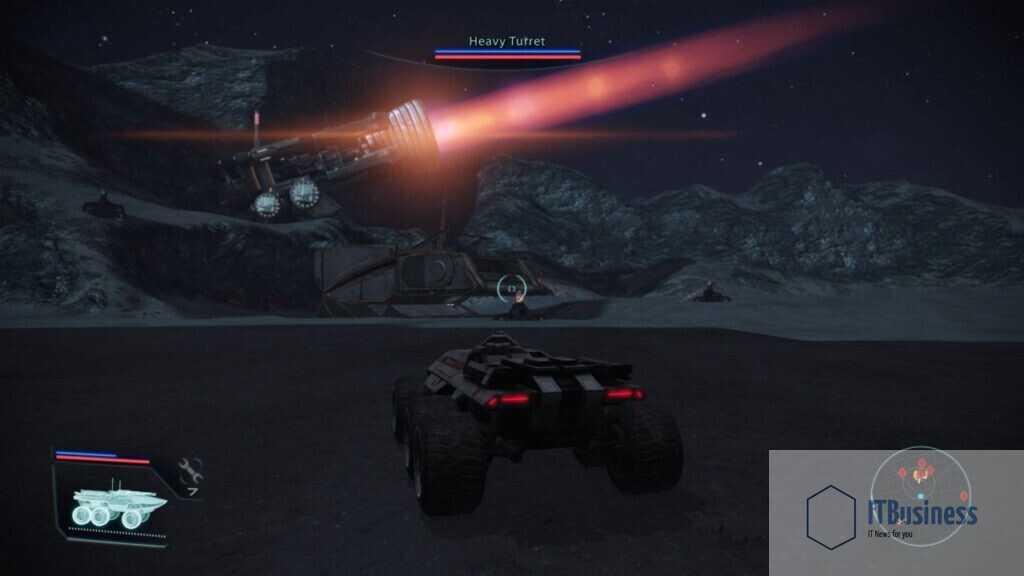 Mass Effect Asteroid X57 приближается к турелям в Мако