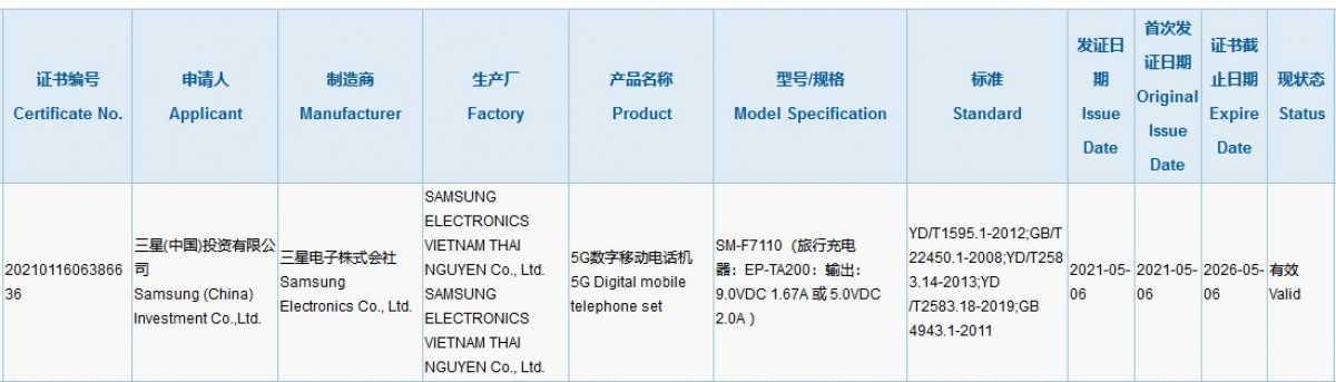 Зарядное устройство Samsung Galaxy Z Flip 3 15 Вт, сертификация 3C